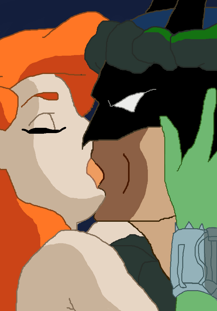 Batman and Poison Ivy Kissing by Ellasmeria