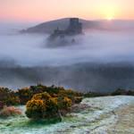 Corfe Castle Mist by SebastianKraus