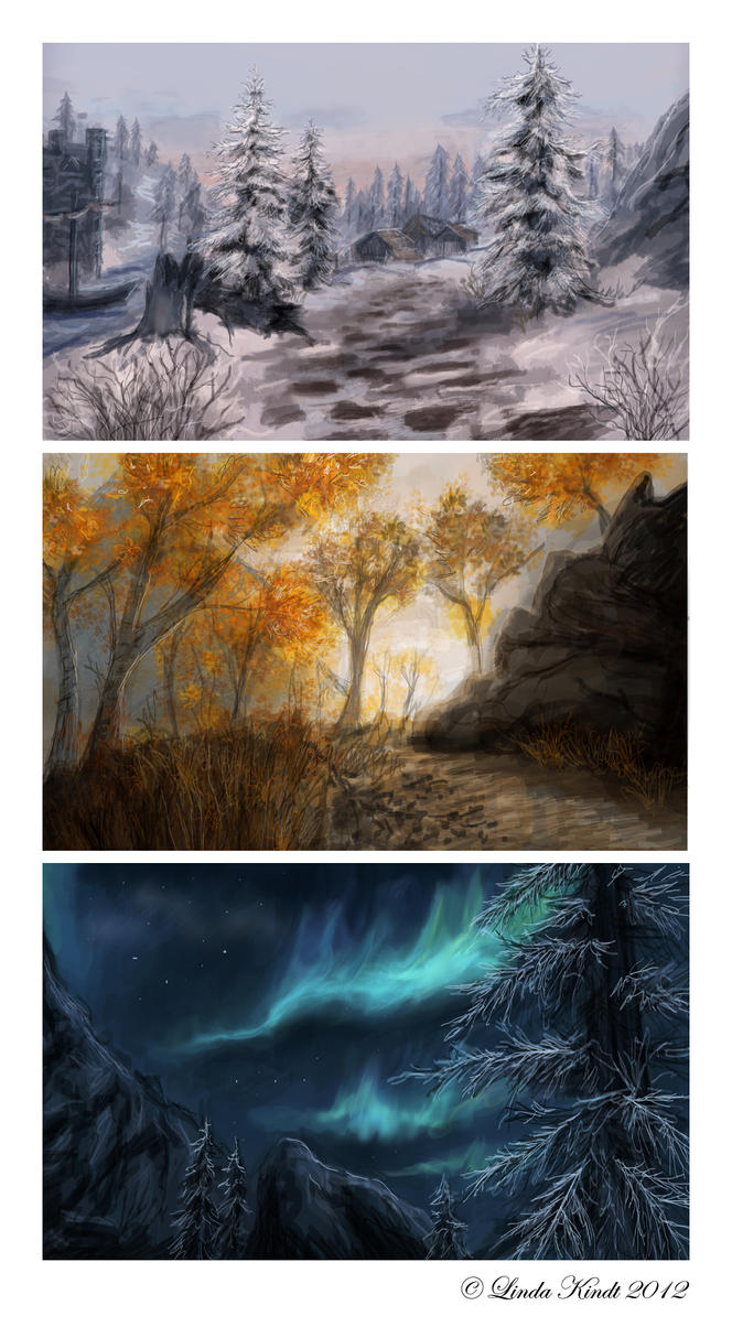 Skyrim Speedpaintings by Isriana