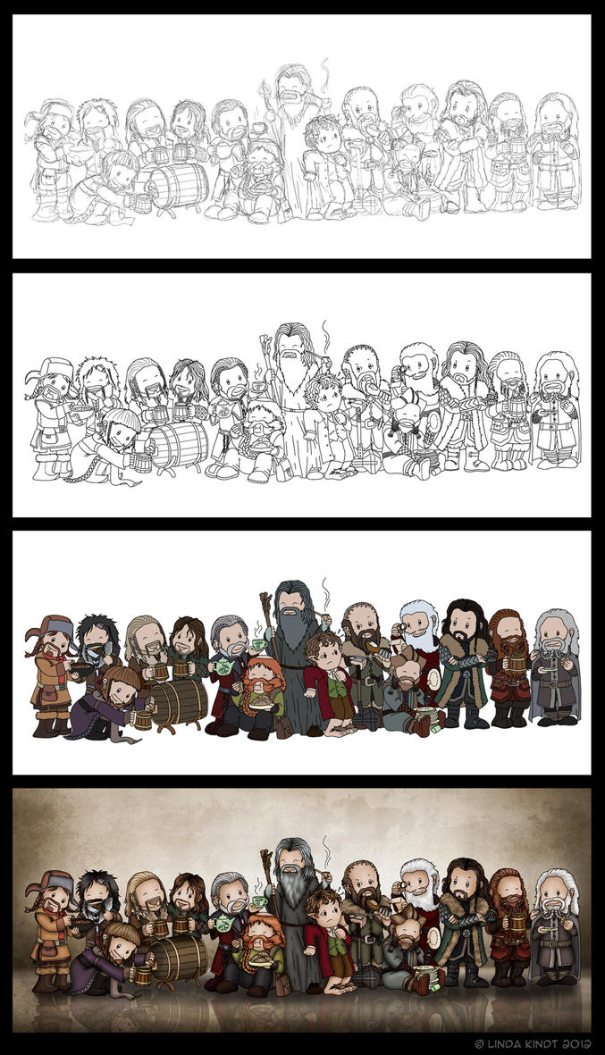 Thirteen Dwarves, A Wizard And A Hobbit by Isriana