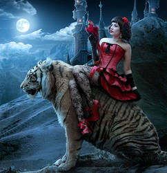 Girl on a tiger