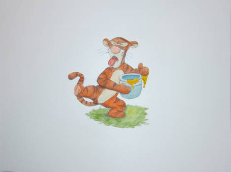 Tigger in Watercolor and Colored Pencils