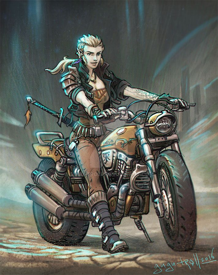 Biker elf girl by gugu-troll