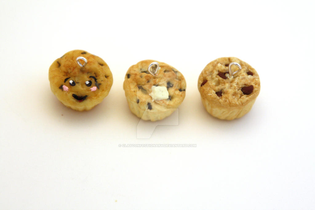 Polymer Clay Miniature Muffin Charms by ClayConfectionary