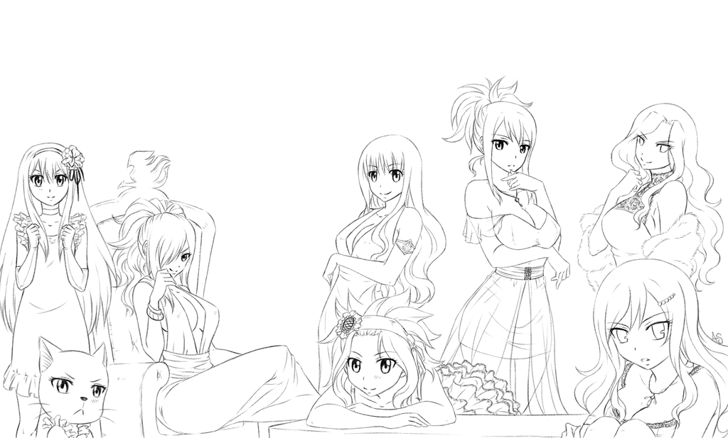 FT girls redo -lineart- by AnnMY