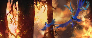 Escaping the Fire! A painting for Rio 2.