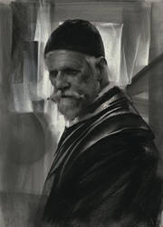 Monk in Charcoal by NathanFowkesArt