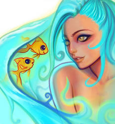 Aqua (Close-Up) #destinyblueredraw by SquirrelHsieh