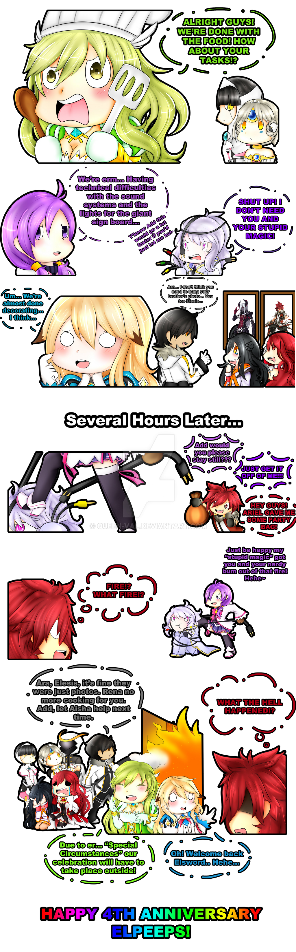 THE PARTY MUST GO ON! - Elsword's 4th Anniversary by queen-val