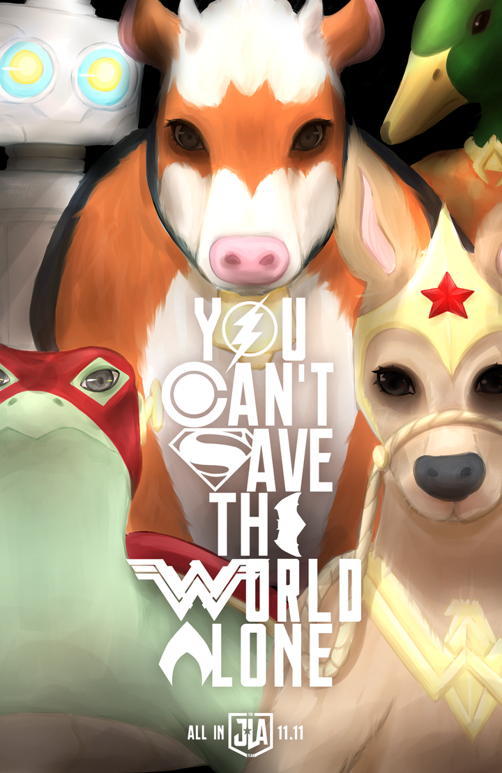 JLA Team - You Can't Save the World Alone - Poster by queen-val