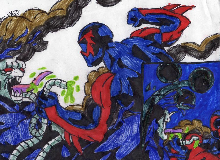 Spidey 2099 Beats Venom 2099 by ChahlesXavier on DeviantArt