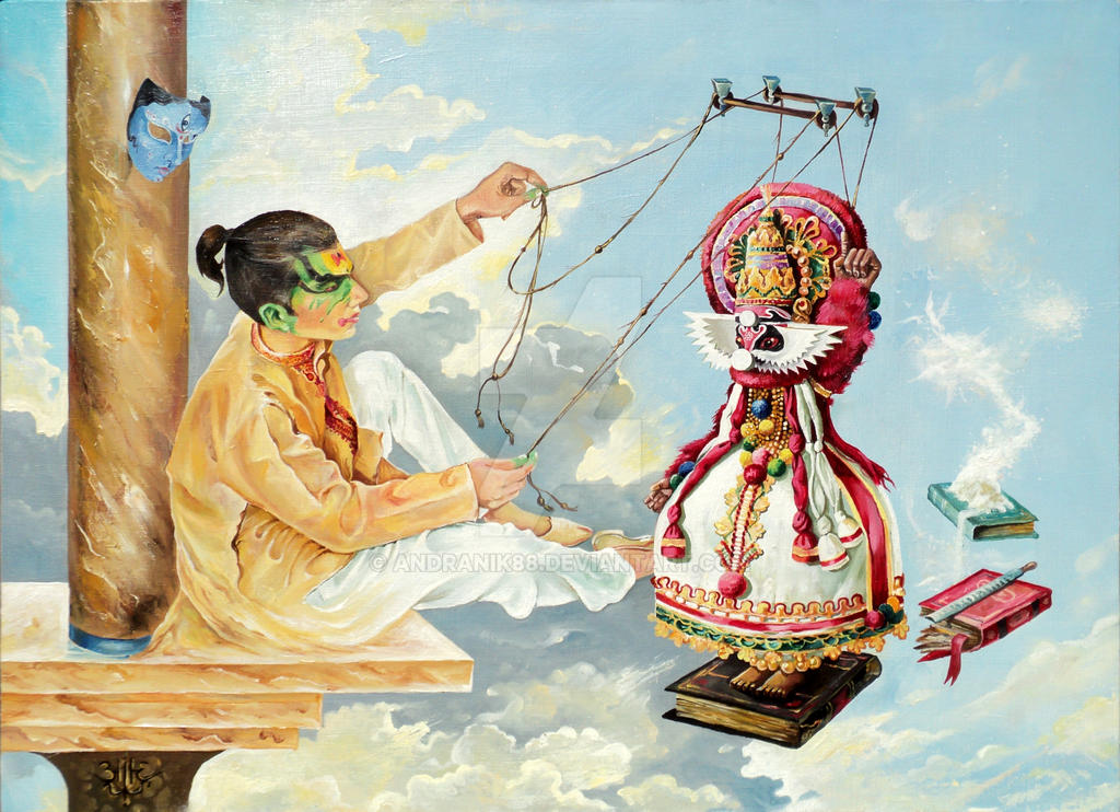 PUPPETEER FROM THE THEATER KATHAKALI..oil,cavas, by Andranik88