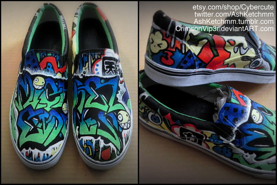Japanese Street-Styled Graffiti Custom Vans by CrimsonVip3r