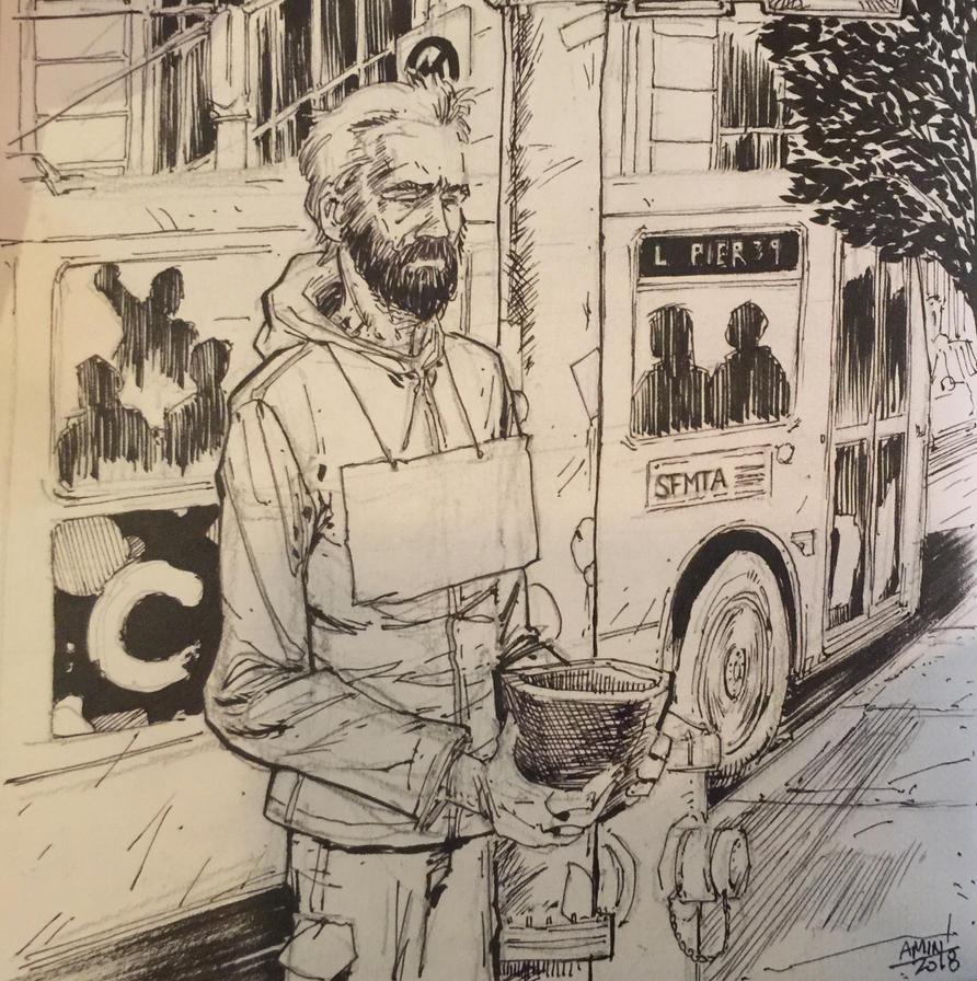 Homeless Man. Mission and Third. San Francisco by aminamat