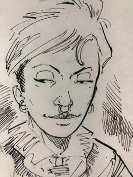 Woman portrait ink sketch
