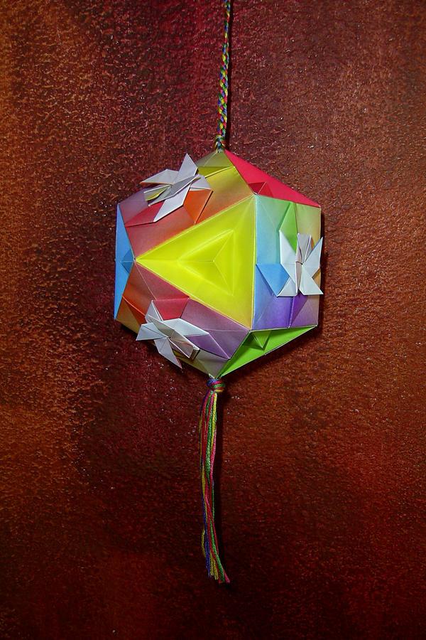 Rainbow Origami Tetradecagon by johannachambers