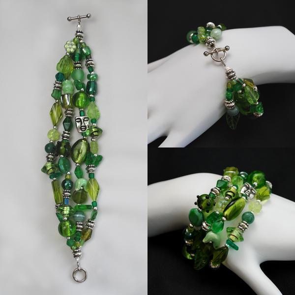 Green Cluster Bracelet by johannachambers