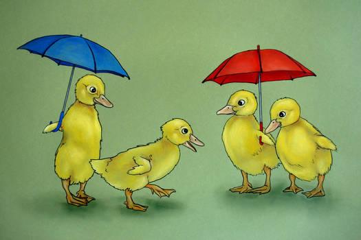 Ducklings with Umbrellas