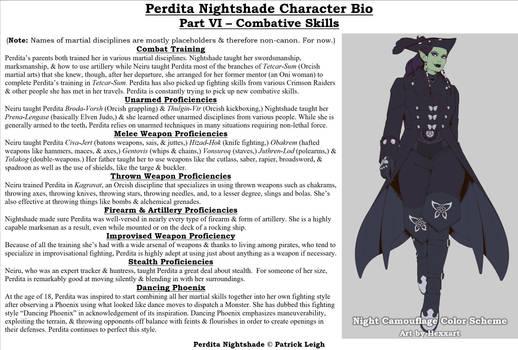 Perdita Nightshade Bio Pt 6 - Combat Skills