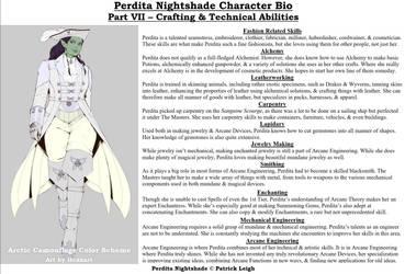 Perdita Nightshade Bio Pt 7 - Crafting Abilities