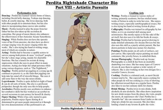 Perdita Nightshade Bio Pt 8 - Artistic Pursuits