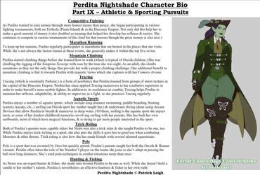 Perdita Nightshade Bio Pt 9 - Athletic Pursuits