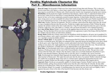 Perdita Nightshade Bio Pt 10 - Miscellaneous Info