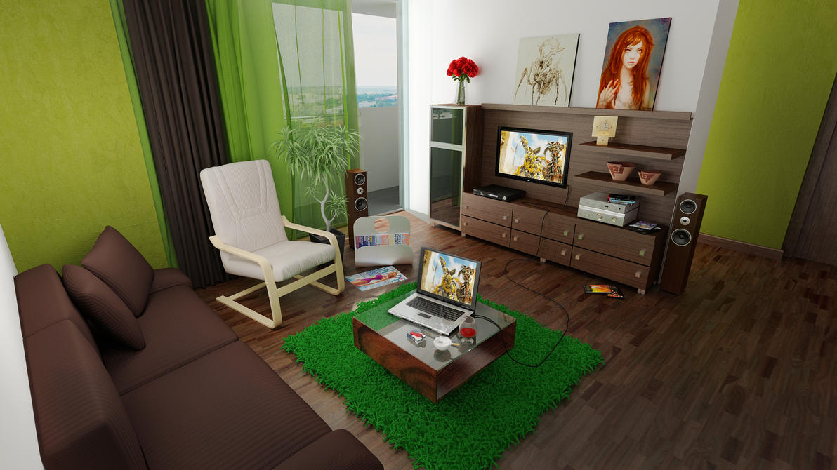 Genial Green And Brown Living Room By Shyntakun ...