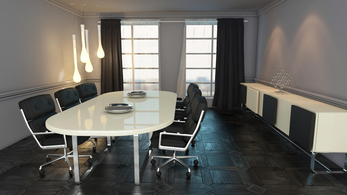 Grey Meeting Room By Shyntakun On DeviantArt - Grey conference table