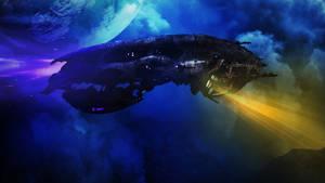 Spaceship on patrol