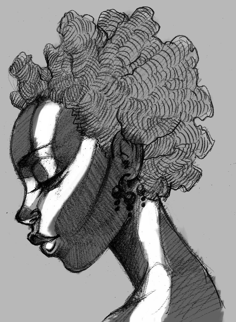 Natural curly hair silhouette