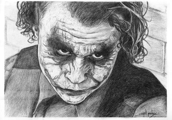 Heath ledgers joker pencil by johnhenry006