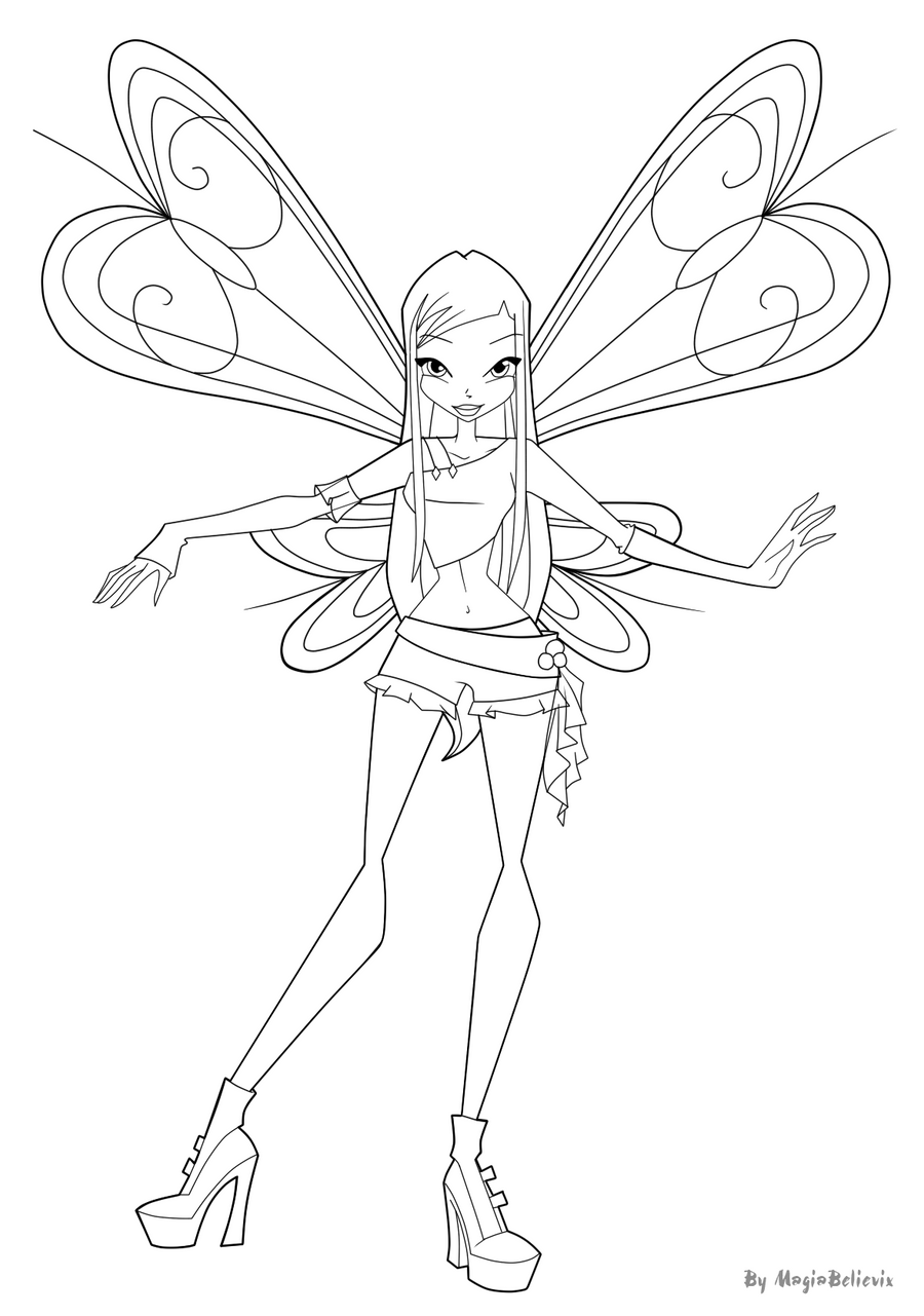 Kleurplaten Winx Roxy.Winx Club Coloring Pages Roxy Coloring Pages