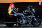 Female Ghost Rider on Motorcycle