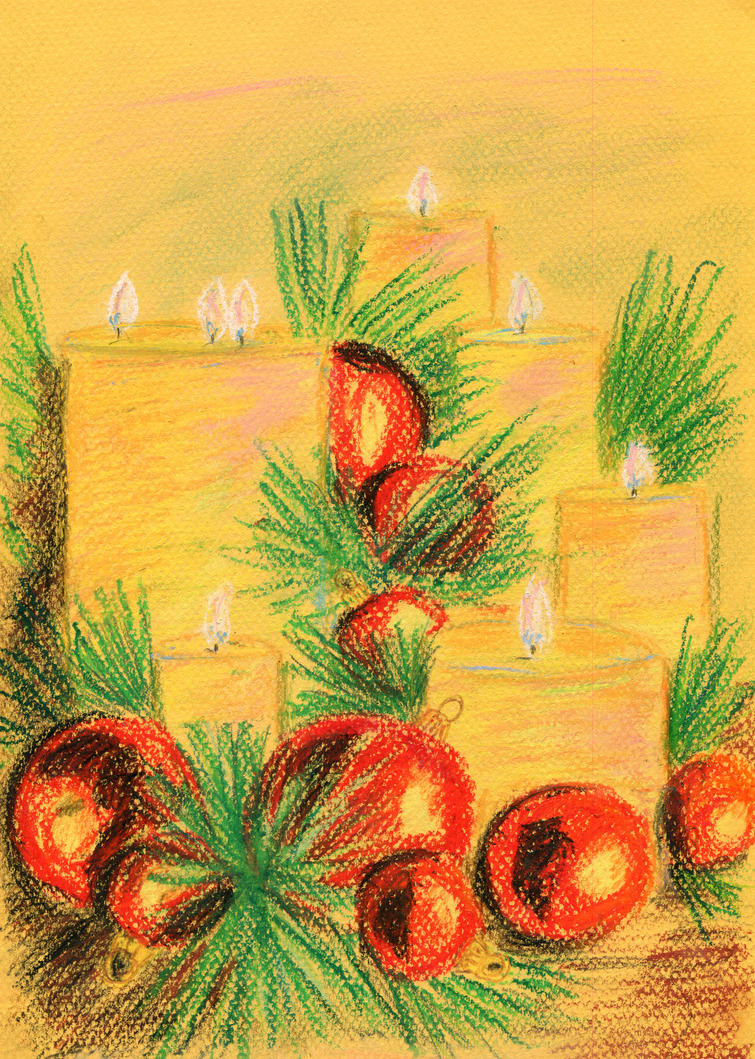 New Year candles and balls by 8Libelle8