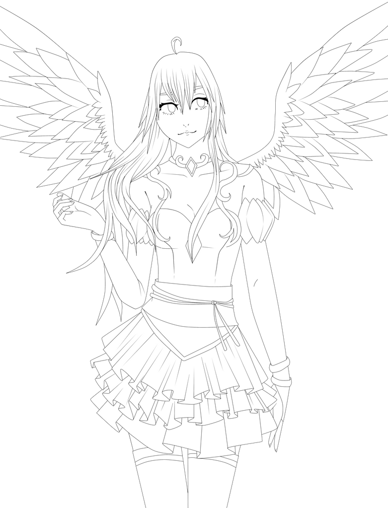 Line Art Angel : Lineart angel by the searching one on deviantart