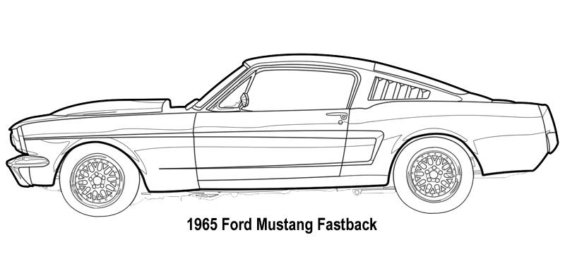 ford mustang line drawing