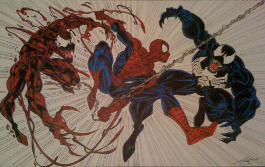 Spider-Man vs. the Symbiotes by darklordzor on DeviantArt
