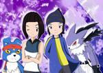 Reira, Kouji with Gaomon and Strabimon