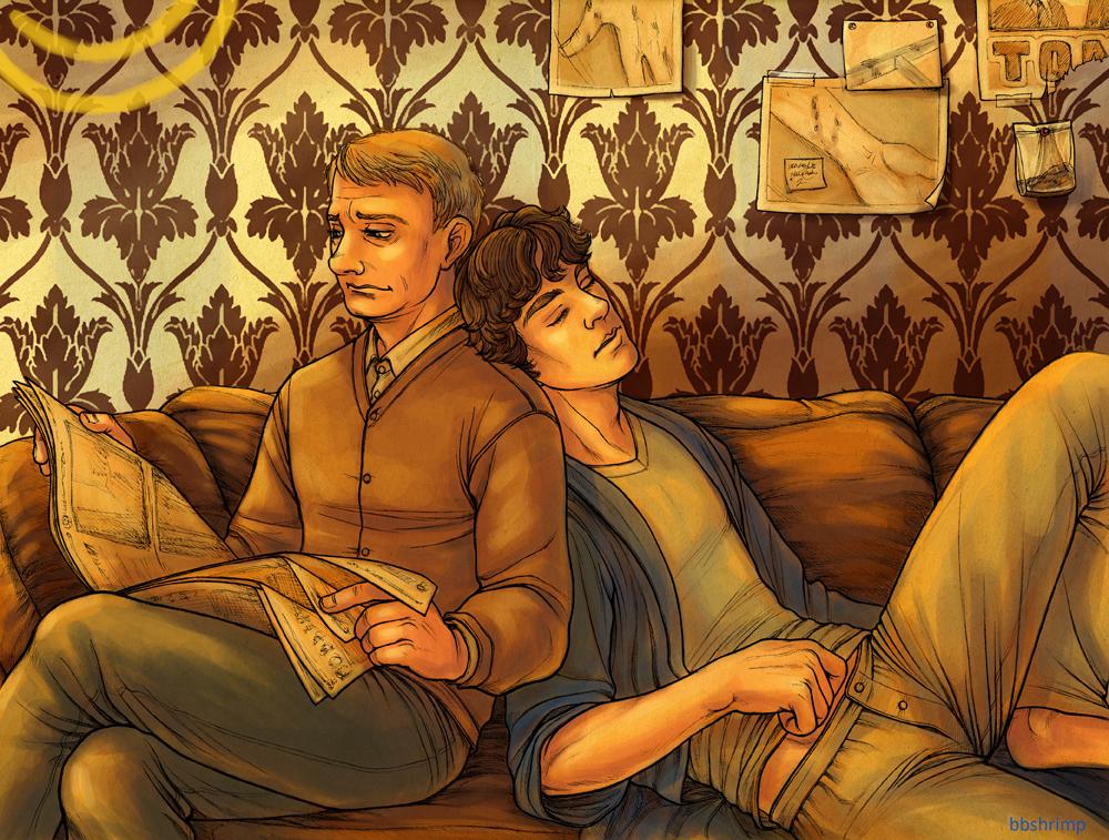 John and Sherlock having tropey naps by bbshrimp