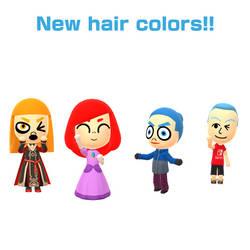 MORE HAIR COLORS FOR MIITOMO!!! by TigerfishAori