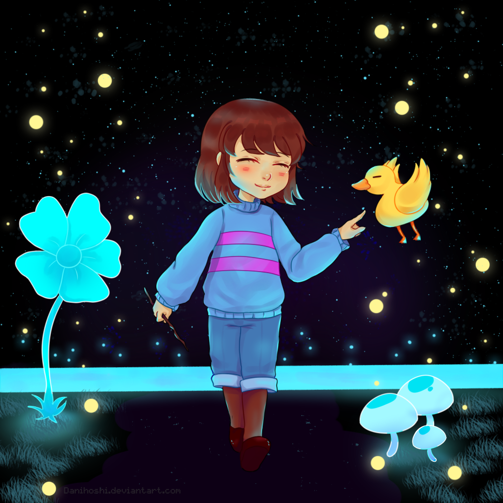 undertale frisk in waterfall - photo #2