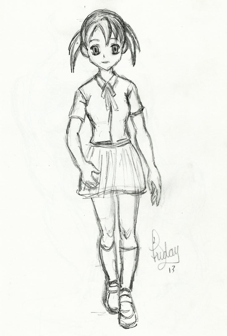 Sketch: Manga Girl Walking by Pixel-Slinger on DeviantArt