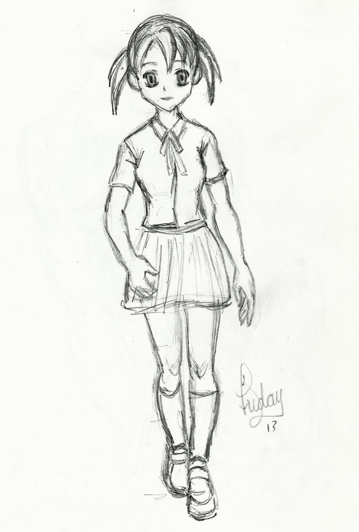 Sketch: Manga Girl Walking by Pixel-Slinger on DeviantArt