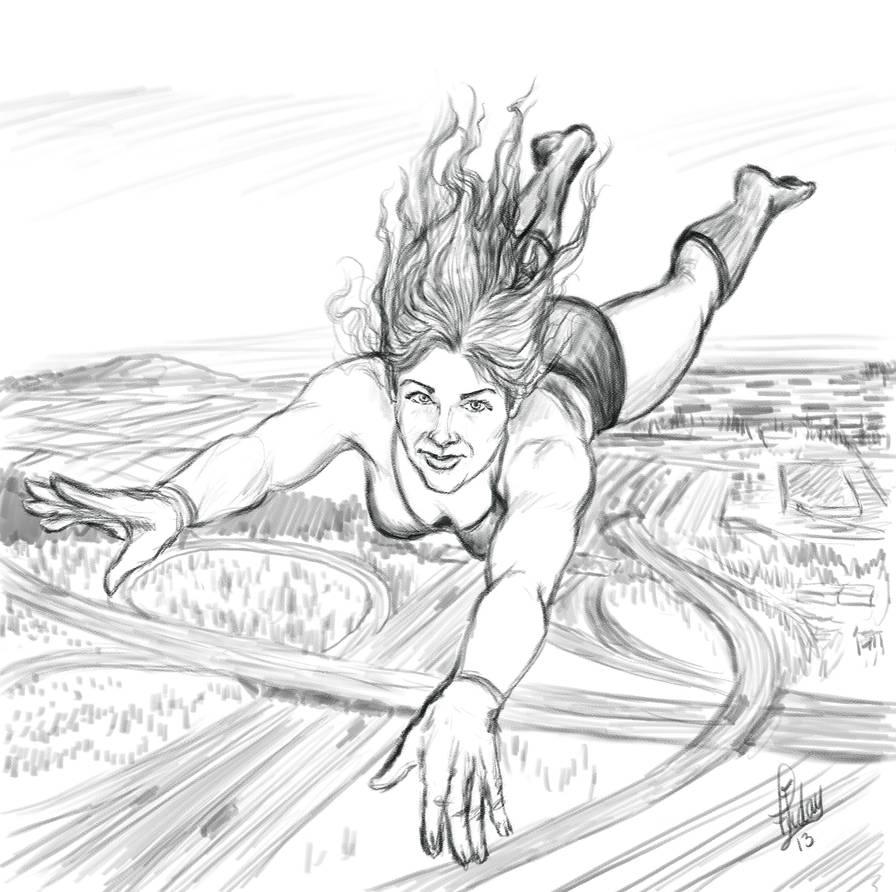 Sketch: Flying Girl by Pixel-Slinger