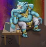Ganesh Taking a Break in the Green Room