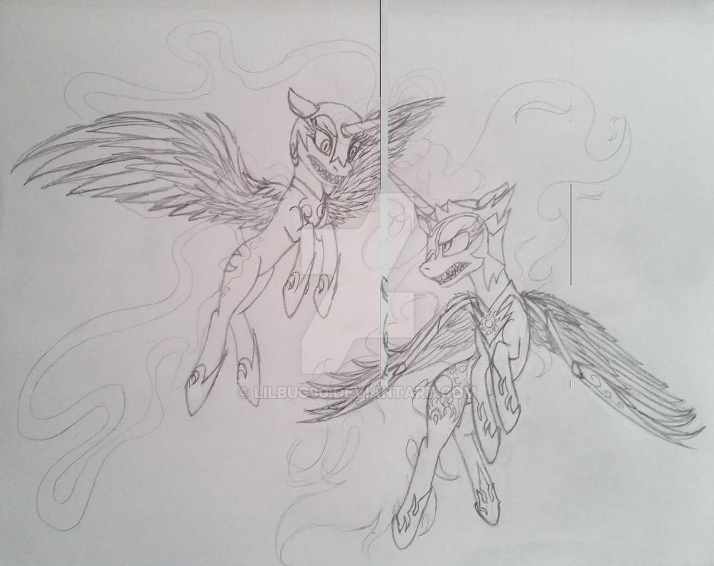 Daybreaker vs nightmaremoon by lilbuc90