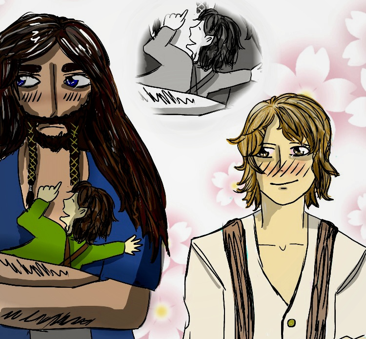 Thorin, young Frodo and Bilbo by MadameRosaria