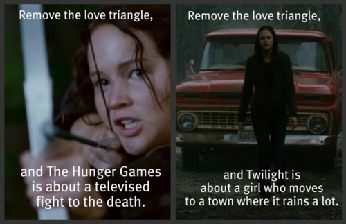 The Hunger Games vs. Twilight by jellybeansammie