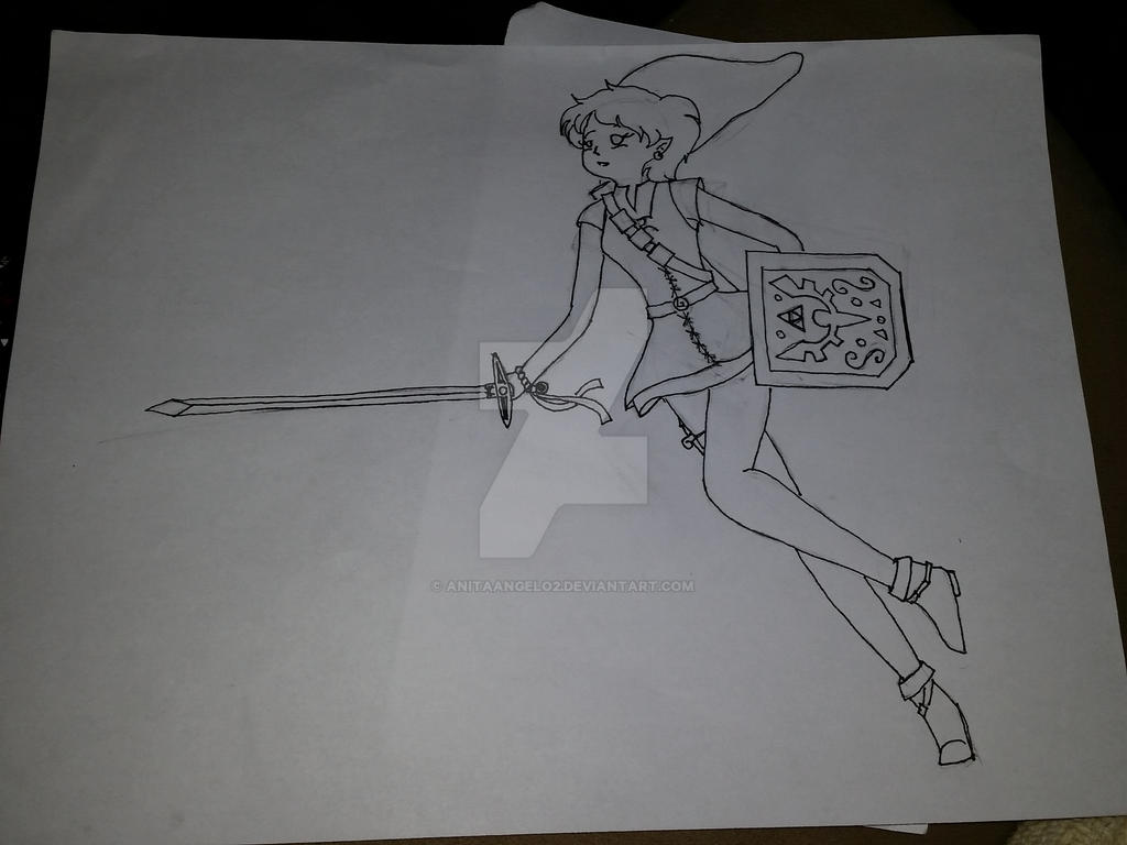 Zelda sketch...with lines! by AnitaAngelo2